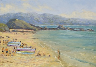 Looe beach oil painting by David Mather