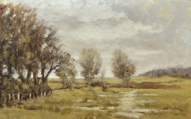Wet day in March on Dartmoor oil painting by David Mather