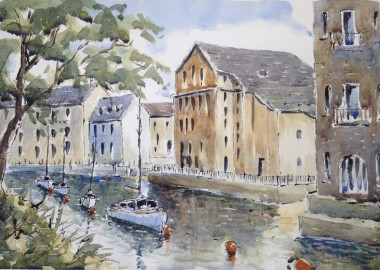 Totnes moorings watercolour and ink painting by David Mather