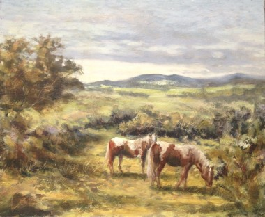 Dartmoor Ponies oil painting by David Mather