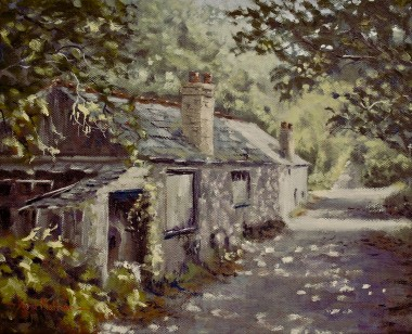 Derelict cottage oil painting by David Mather