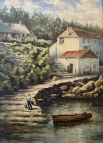 Coverack oil painting by David Mather