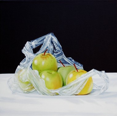 Golden Delicious apples in a plastic bag