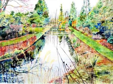 Watercolour, river, waterway