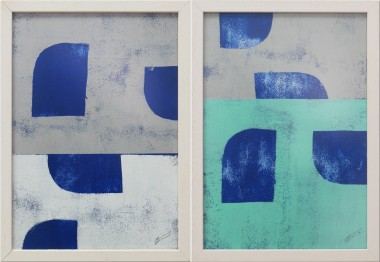 Grey Blue Stacked - Diptych - Incl Frame