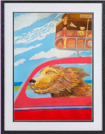 holiday dog framed