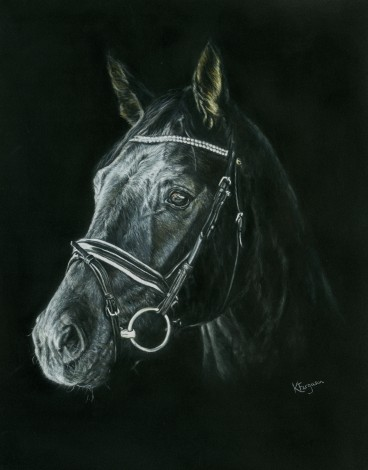 Horse painting in pastels