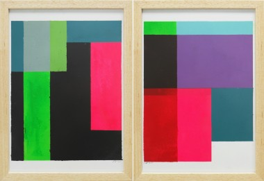 Cubistic Modern Pink - Diptych - Incl Frame