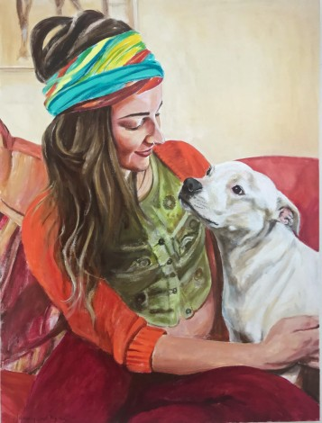 Love between girl and dog