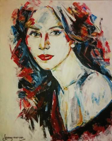 #portrait#woman#redhead#abstrace#scarletribbons