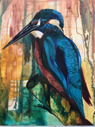 Kingfisher mixed media painting in inks and acrylic