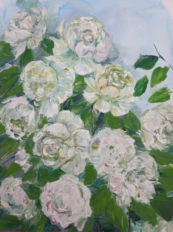 Neutral colours, contemporary floral painting