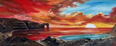 Durdle Door under a Red sky