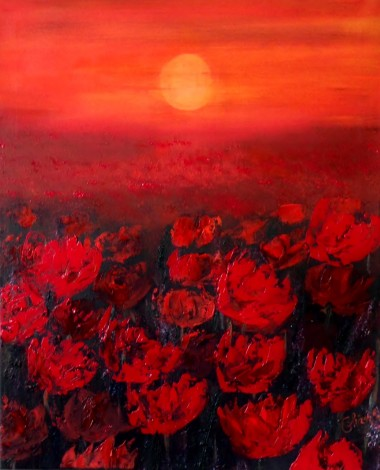 Sunset in a Red Field of Poppies -