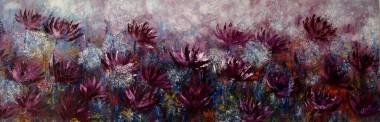 Exotic Purple Flowers Field