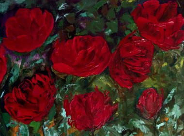 Red Roses in the Night Garden -