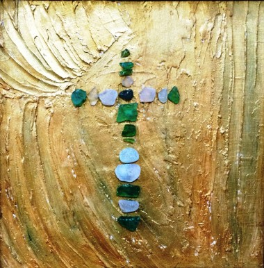 Sea glass crucifix on gold background relief plaster comes framed