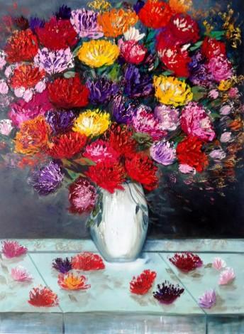 Spring Flowers in a Porcelain Vase