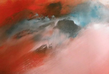 Abstract Skyscape Turquoise & cadmium red