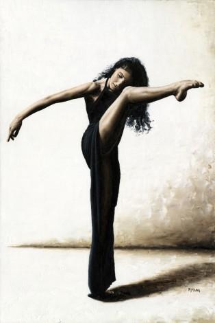 Fine art original oil painting of a beautiful female dancer in a discretely sensual pose