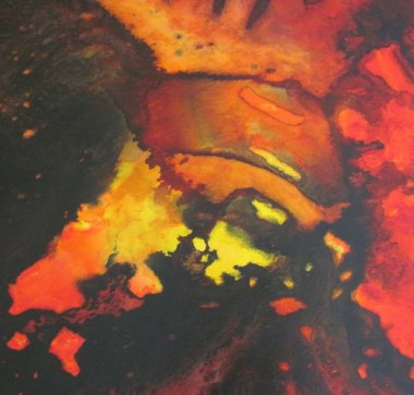 Inferno red black and yellow abstract painting