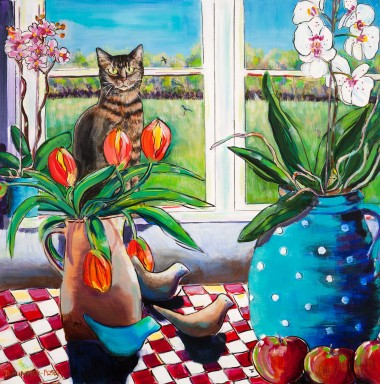 Kitchen Table Still Life With Cat