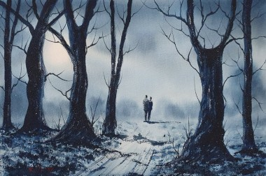 Light Snow And Moonlight - Original watercolour by Ricky Figg - Walk in the woods