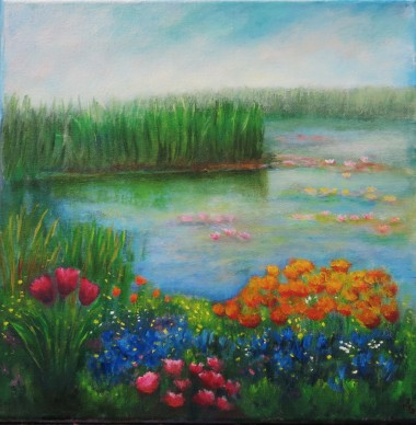 canvas oil painting of a lily pond by Maureen Greenwood