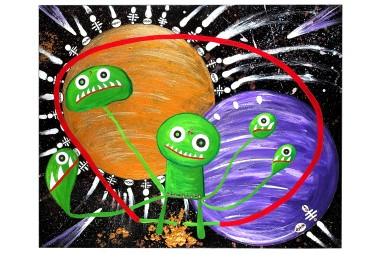 Little Green Men With Bhindis Playing in the Planets