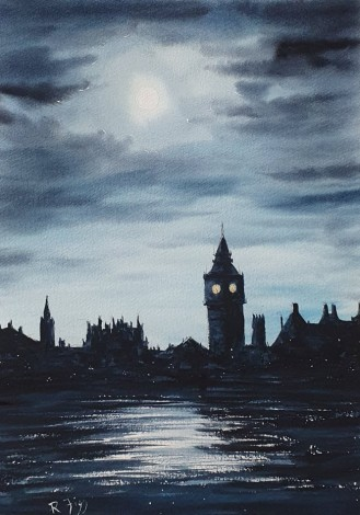 London Moon - Original watercolour painted by Ricky Figg - London in Moonlight