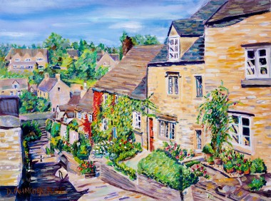 LOOKING DOWN THE CHIPPING STEPS, TETBURY painting for sale