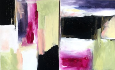Abstract diptych gold black purple white modern