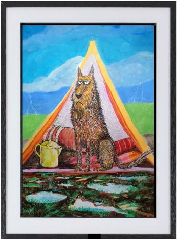 camping dog framed