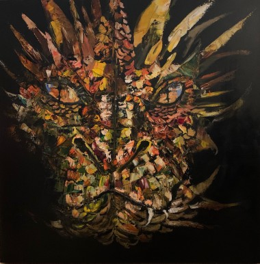 Original oil on canvas painting of a dragon that has been created with the use of a palette knife.
