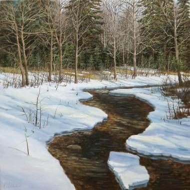 Winter landscape melting snow