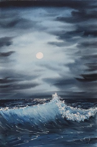 Original watercolour painted by Ricky - Midnight Waves