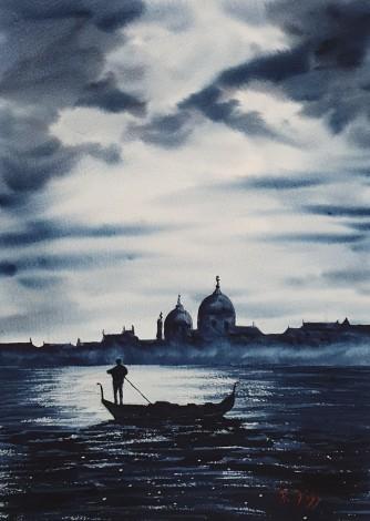 Original Watercolour Moonlight Venice.  A romantic trip to Venice on the gondola.