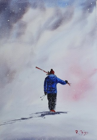 Morning Ski  - Original watercolour painted by Ricky Figg  - Skiing in the Mountains