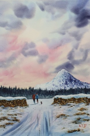 Early Morning Walk - Original watercolour painted by Ricky Figg - Walk in the morning