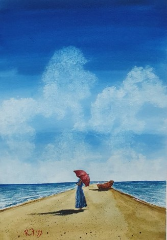 My Favourite Place - Original watercolour painted by Ricky  Figg - Walk on the beach