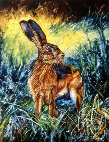 Hare painting in acrylics