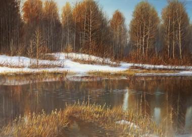 Winter landscape naked forest
