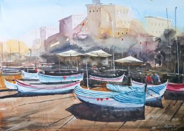 Original Watercolor of boats
