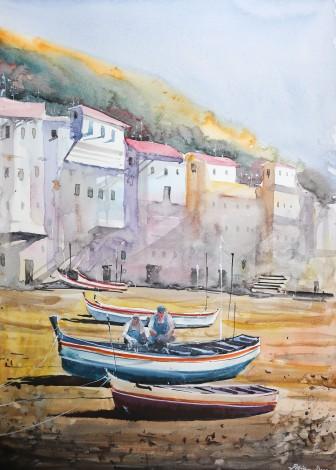 Original Watercolor Boats