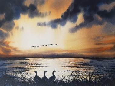 Night Geese - Original watercolour painted by Ricky Figg -  Geese over the lake