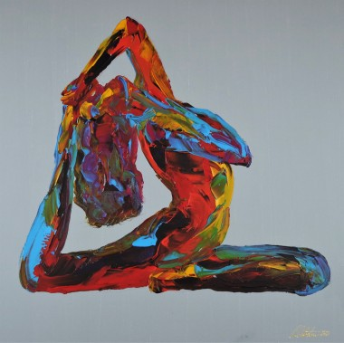 Nude Woman Yoga One Legged king Pigeon Pose 834Acrylic on Stretched 3D Gallery Canvas.