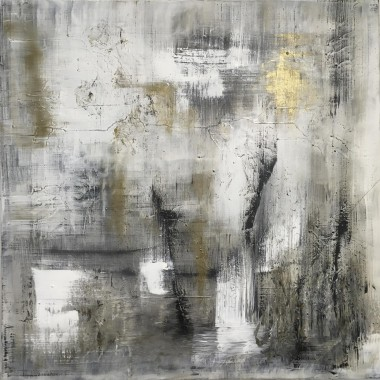 Out of the Mist original abstract painting in gold, black and white
