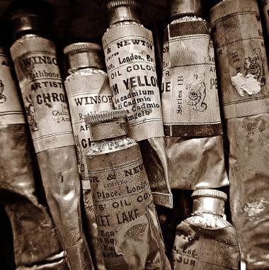 b/w photo of vintage oil paint tubes
