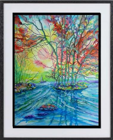 framed painting of lake, rapids, trees landscape