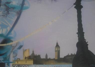 London Eye by the river